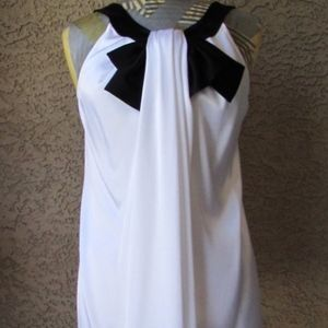 ST JOHN Caviar White Satin Black Bow Blouse 12 NEW